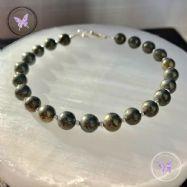 Pyrite & Silver Bead Bracelet